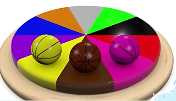 3D益智动画,七彩篮球圆蛋糕学习颜色