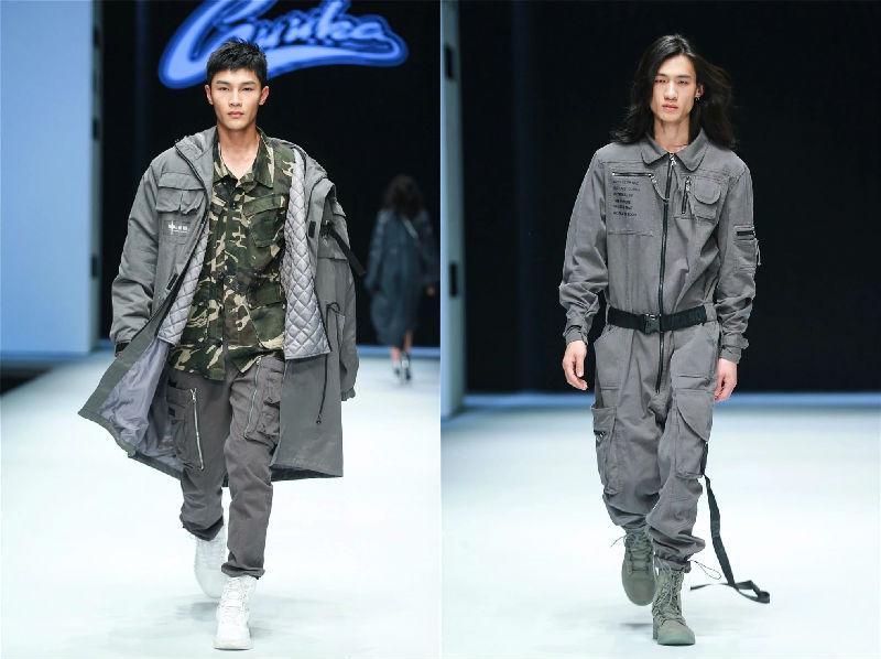 石狮国际时装周GUUKA2018秋冬新品发布会 以军事工装为原型设计反思战争的摧毁